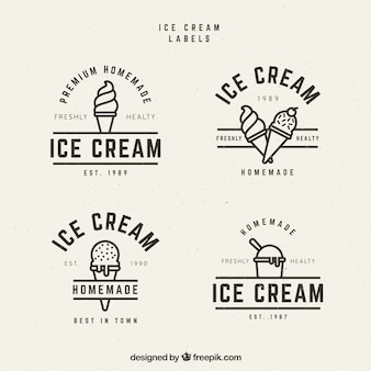 Several ice cream labels in vintage style