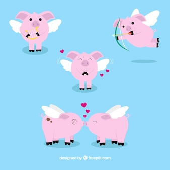 Several little pigs with wings of valentine