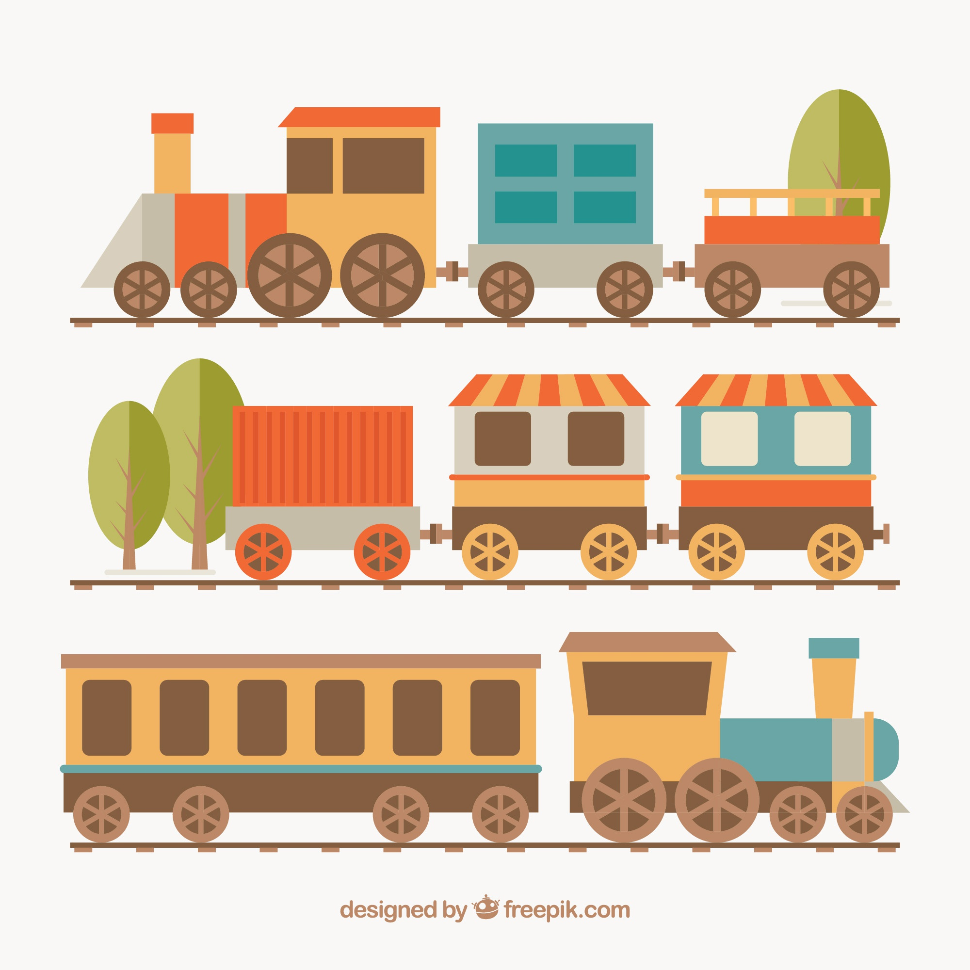 Several locomotives with wagons
