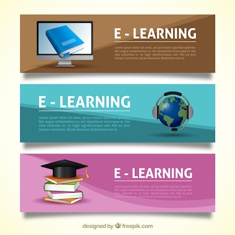 Several online education banners in realistic style