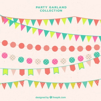 Several party garlands in flat style