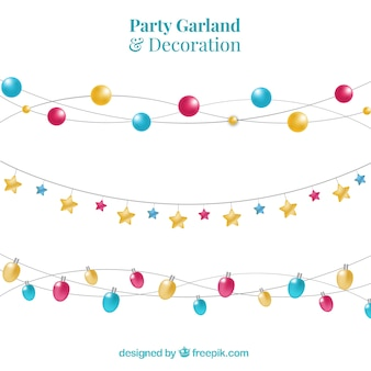 Several party garlands with different shapes