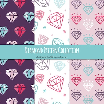 Several patterns of colored diamonds