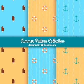 Several patterns with summer objects in flat design