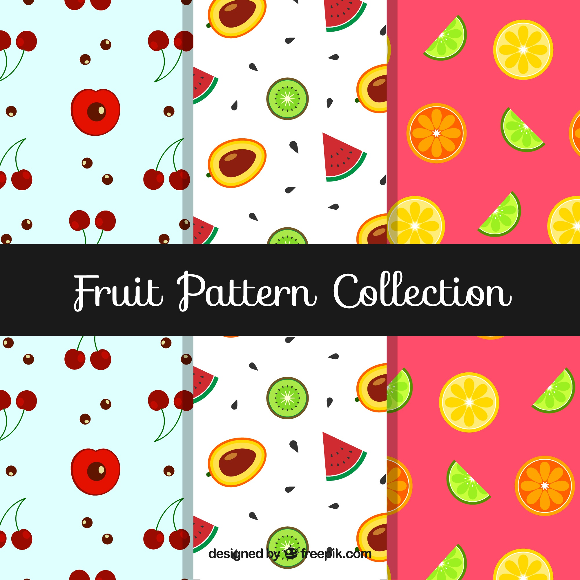 Several patterns with tasty fruits in flat design