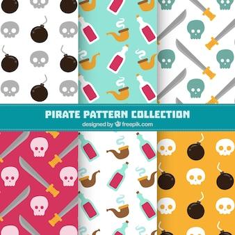Several pirate patterns in flat design