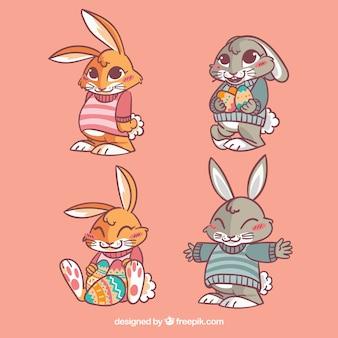 いくつかのかわいいイースターのウサギ