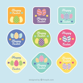 Several pretty happy easter stickers