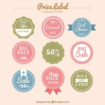 Several price labels in pastel colors