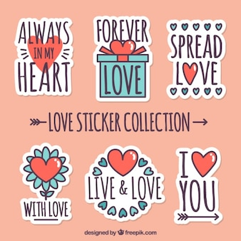 Several romantic stickers with red hearts