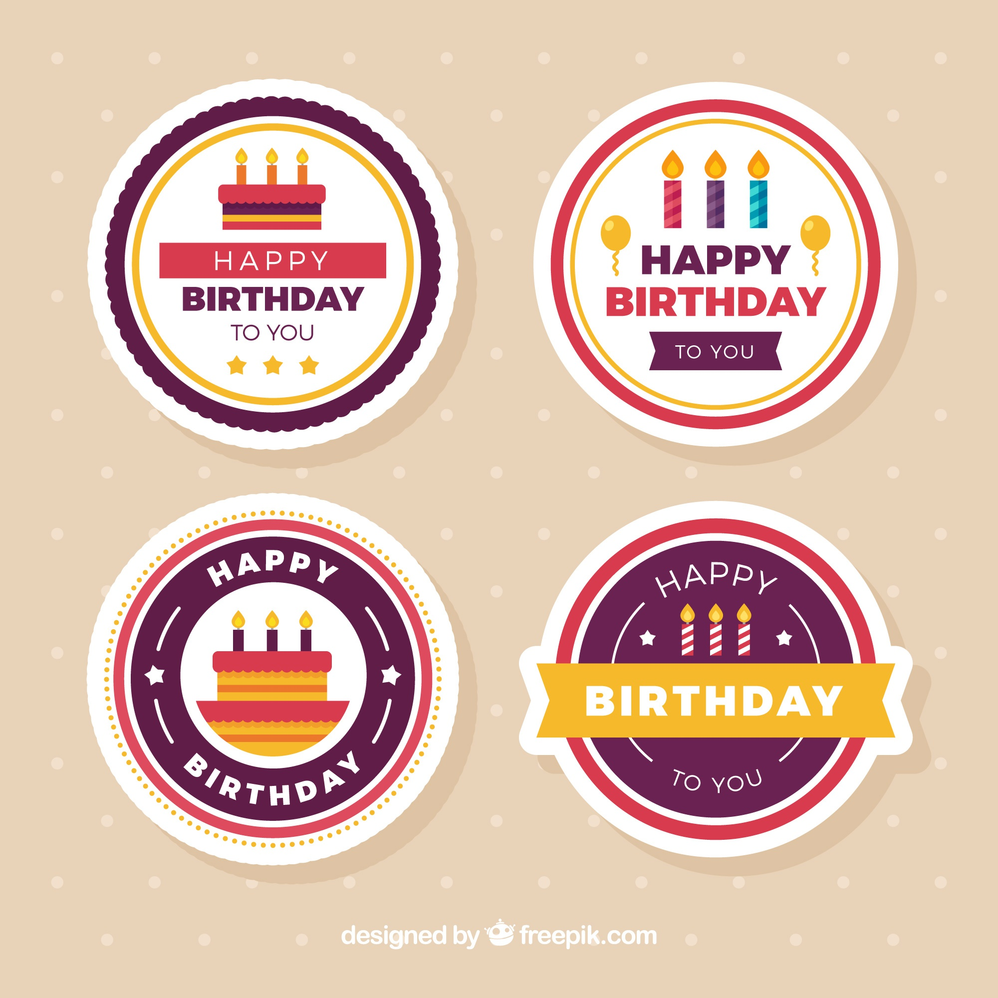 Several round birthday stickers in flat design