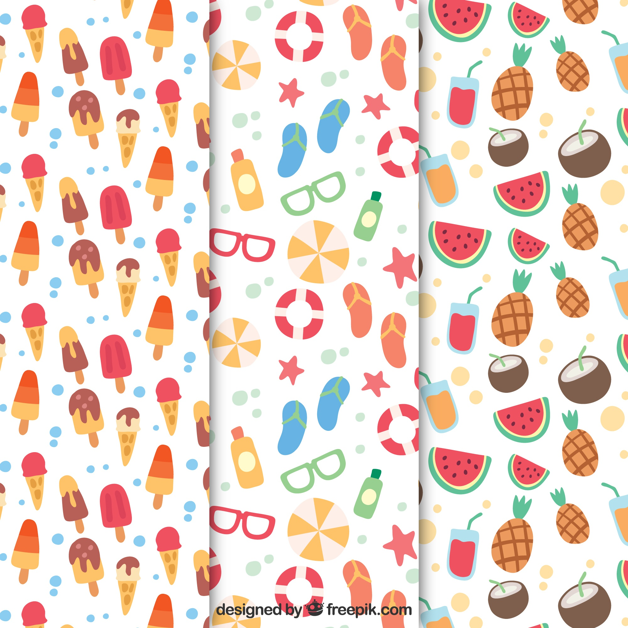 Several summer patterns with flat elements