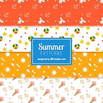 Several summer patterns with items in flat design