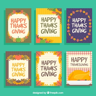 Several thanksgiving cards in vintage style