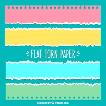 Several torn papers with different colors