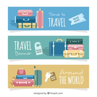Several travel banners with baggage