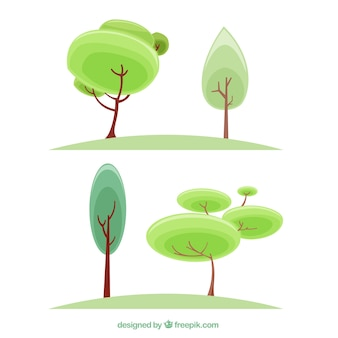 Several trees in flat design