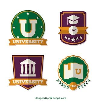 Several university emblems in flat design