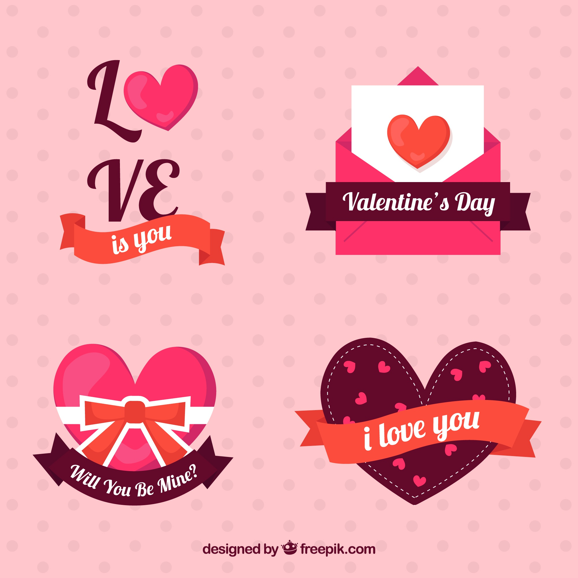 Several valentines stickers with decorative ribbons