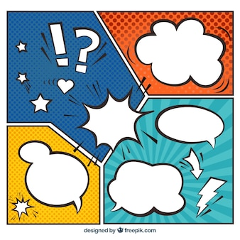 Several vignettes in pop art style with speech bubbles