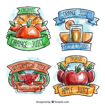 Several watercolor fruit juice labels