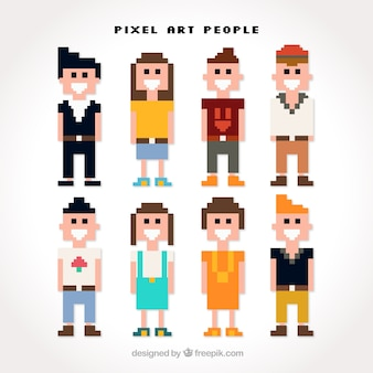 Several young in style pixel art