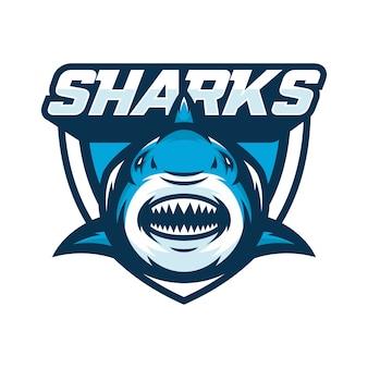 Sharks animal sport mascot head logo vector