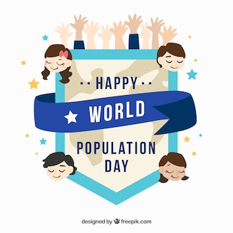 Shield of population day with people