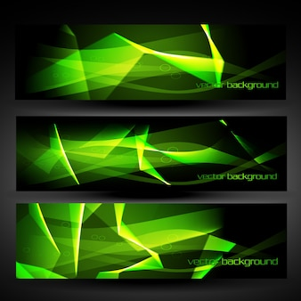 Shiny abstract green and dark banners