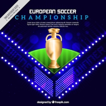 Shiny background with a golden trophy of european soccer championship