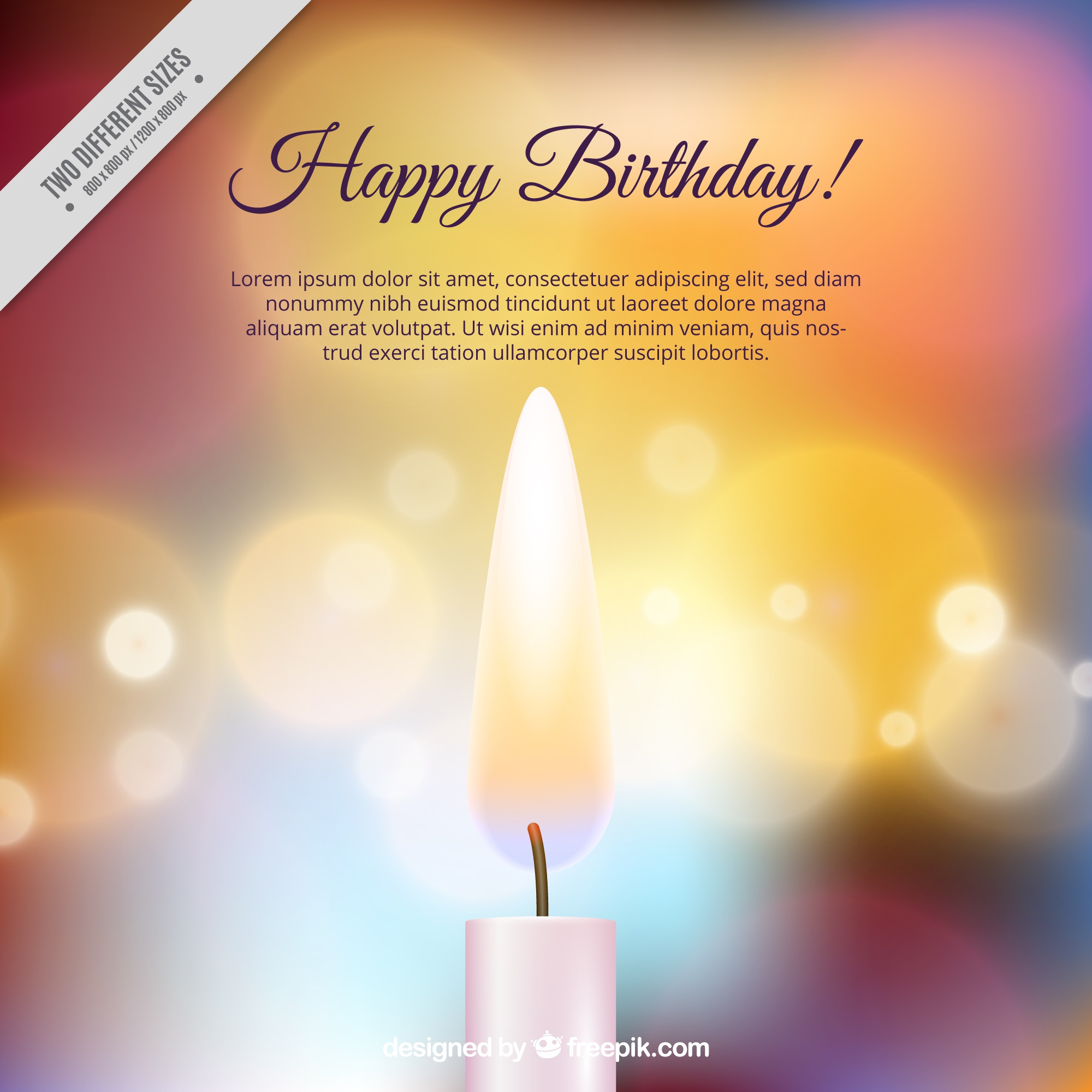 Shiny background with birthday candle and bokeh effect