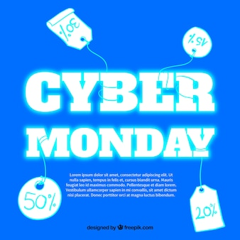 Shiny background with labels for cyber monday