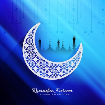 Shiny blue design for ramadan kareem