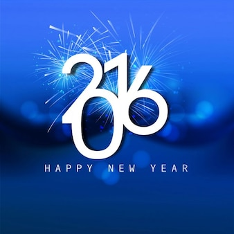Shiny blue new year 2016 card