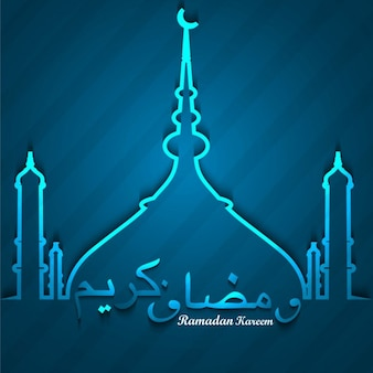 Shiny blue ramadan kareem background
