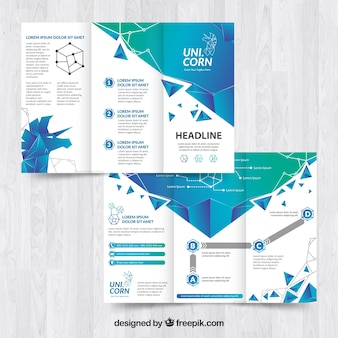 Shiny blue trifold flyer template