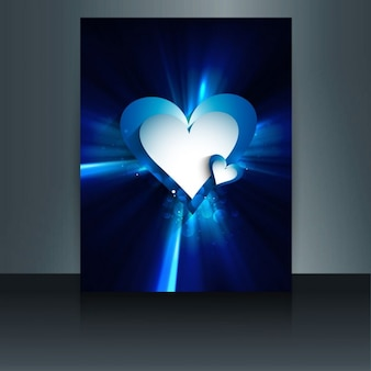 Shiny blue valentine card