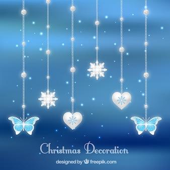 Shiny christmas decoration with blue background