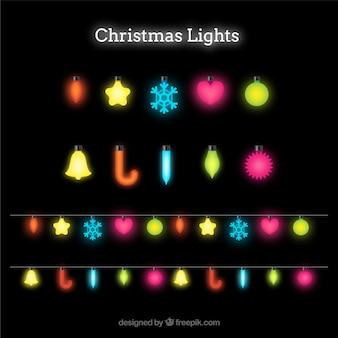 Shiny christmas lights on a black background