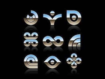 Shiny chrome symbols and shapes