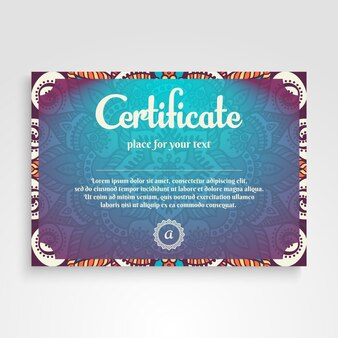 Shiny colorful diploma with mandala concept