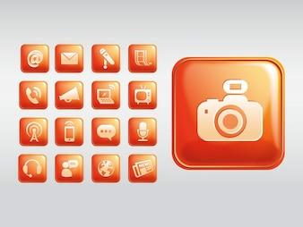Shiny communication square icons vector