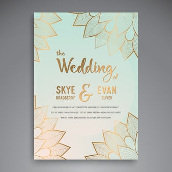 Shiny floral wedding invitation