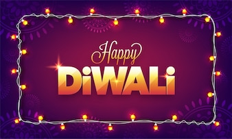 Shiny Golden text Happy Diwali decorated with Bunting lights.