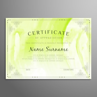 Shiny green certificate design