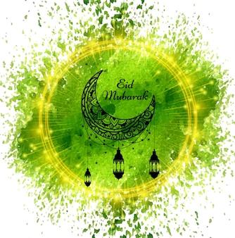 Shiny green eid mubarak background