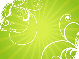 Shiny green floral background