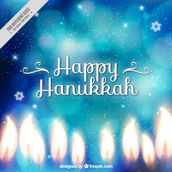 Shiny hanukkah background with bokeh effect