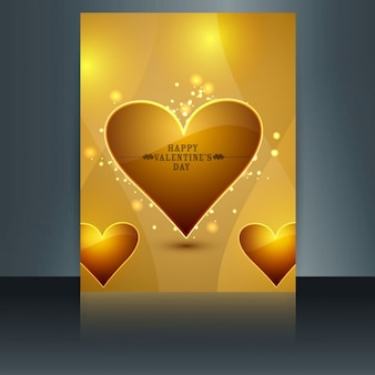 Shiny love card in gold color