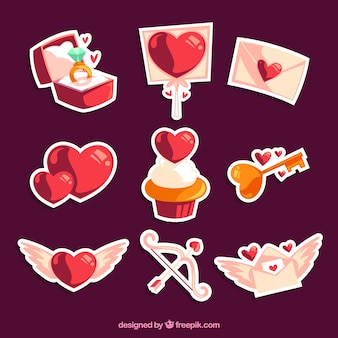 Shiny love stickers pack